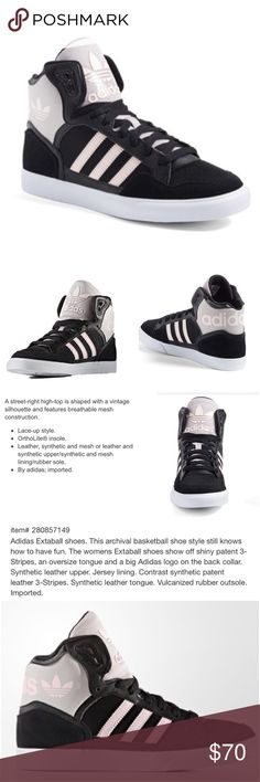 """Adidas Pink & Black Extaball High Top Sneakers 7 Adidas """"Extaball"""" sneakers. Size 7. Color scheme: black, white and pale pink. No box. Worn once. The uppers are in perfect condition. Only minor marks on the bottoms (can easily be spruced up with a magic eraser if you desire.) Lace-up style. These shoes are ideal for basketball and hip-hop dance. Ultra supportive OrthoLite insole. Sturdy bottoms. Great for pivoting and lateral movements. Made of leather, mesh and synthetics. Smoke-free home…"""