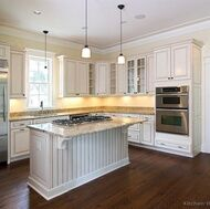 Dark floors, antique white cabinets.  Beautiful.