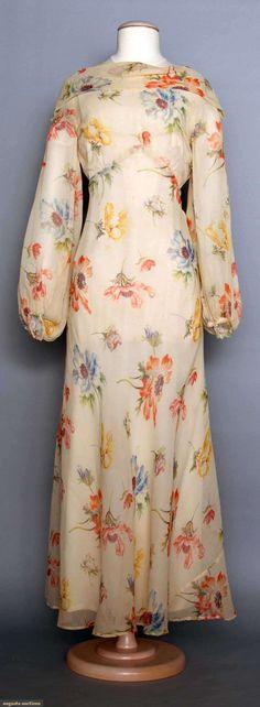 1930s PRINTED CHIFFON GOWN, White w/ red, blue & yellow poppy print, high neck, balloon sleeves, bias-cut