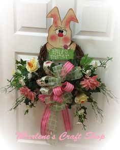 Easter Bunny Wreath, Easter Rabbit Wreath, Easter sign, Easter wreath sign, Easter door hanger, Easter decoration,Spring Easter bunny wreath by MarlenesCraftShop on Etsy
