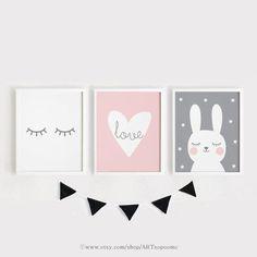 Printable Nursery Art Set of 3 Poster Baby Girls room wall art Pink and gray decor Heart Love Rabbit Eyes digital download print ARTsopoomc