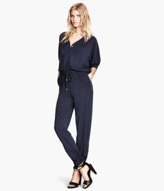 Cheap fashion jumpsuit, Buy Quality jumpsuit fashion directly from China hot jumpsuit Suppliers: 2017 New Summer Fashion Drawstring Loose Waist Pants Womens Dark Blue Panties Deep V-Neck Pockets Hot Jumpsuits S-XXL Plus Size Jumpsuit, Jumpsuit With Sleeves, Jumpsuit Outfit, Denim Jumpsuit, Ladies Jumpsuit, Blue Jumpsuits, Jumpsuits For Women, Casual Black Jumpsuit, Vintage Jumpsuit