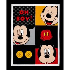 "Disney Fabric Panel- Disney Mickey Mouse Panel Oh Boy! 100% cotton Fabric by the panel 35""x43"" (A230)"