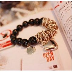 Girls Loved Black Rosary and Metal Patchwork Strand Bracelet, Bangle Bracelets, Jewelry Necklaces, Bangles, Link Bracelets, Jewellery, Fashion Jewelry, Women Jewelry, Jewelry Accessories