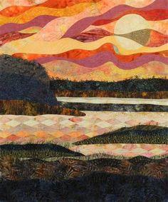 Landscape quilt; Tideland Sunset by Eileen Williams