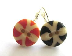 SAN FRANCISCO GIANTS. Antique button earrings, orange & black china stencil buttons from 1800s Victorian era