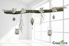 Ast aus Buchenholz zum Aufhängen mit Glasornament von CreaTina-Deko auf DaWanda.com