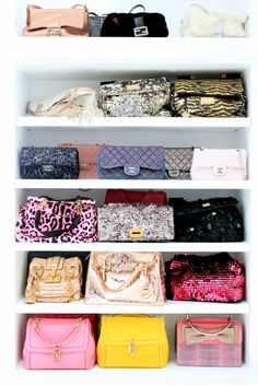 Just a small selection of Lisa Vanderpump's handbags from her closet tour. Click here to see more of her gorgeous home -- Villa Rosa.