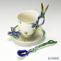 Franz Collection Long tail hummingbird design sculptured porcelain cup, saucer and spoon set FZ00129