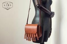 HAAS rojizo borla marrón bolsa de ocio bolsa cosida a mano retro bolso de la manera del hombro del ms bolsa de mensajero marea femenina