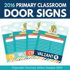 """2016 LDS Primary Classroom Door Signs! """"I Know The Scriptures Are True"""" - Super cute!"""