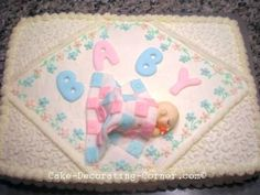 Baby Shower Cakes, Baby Birthday Cakes and Christening Cakes Unique Baby Shower Cakes, Baby Shower Sheet Cakes, Baby Shower Cake Designs, Baby Shower Cake Decorations, Simple Baby Shower, Baby Carriage Cake, Baby Birthday Cakes, Baby Cakes, Shower Tips