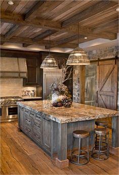 Rustic Kitchen Cabinets, Rustic Kitchen Design, Kitchen Wood, Kitchen Corner, Dark Cabinets, Kitchen Countertops, Kitchen Industrial, Kitchen Small, Rustic Design