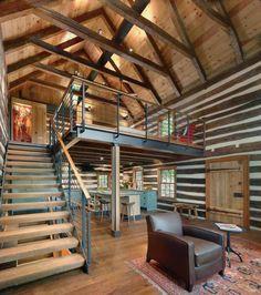 garde corps mezzanine, style éclectique d'aménagement, escalir moderne en bois et métal