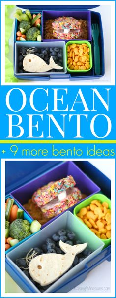 Ocean Bento Lunch Ideas + Pearl Oyster Cereal Treats. + 9 more easy bento lunchbox ideas #PebblesCereal #ad