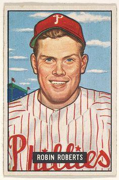 1951 Bowman 3 Robin Roberts Philadelphia Phillies Baseball Card