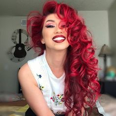 We're loving how spiced up her life with our 😍👌 Make sure to grab a jar online or at an near you… Red Ombre Hair, Hair Color Purple, Hair Dye Colors, Cool Hair Color, Bright Red Hair Dye, Burgundy Red Hair, Vibrant Red Hair, Light Purple Hair Dye, Amazing Hair Color