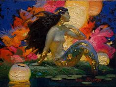 Victor Nizovtsev, b 1965 Symbolism / Fantasy painter with remarkable whimsy and colour understanding. Kunst Inspo, Art Inspo, Art And Illustration, Fantasy Kunst, Fantasy Art, Victor Nizovtsev, Mermaid Art, Mermaid Pics, Mermaid Paintings