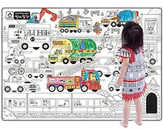 A Set of 4 Giant Wall Size Coloring Posters for Kids Coloring Book Wall Decals for Kids Room Dcor 299 X 212Transportations >>> Read more reviews of the product by visiting the link on the image.
