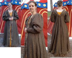 1480 handsewn Cioppa made from wool/silk linen in green linen and trimmed in a sacrificed 1960s fur coat (rabbit we think). Worn over the jaffa dress. Hand painted tent in the background was painted by me but made by a local tent maker.
