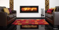 Riva Studio Profil Wood burning Fire | Stovax & Gazco, stoves, fires and fireplaces