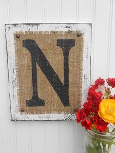 Rustic wedding burlap sign, reception decoration, Monogram, A through J, K, L, M, N, O, P, Q, R to Z. $30.00, via Etsy.
