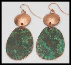 AMALI - Handforged Patinated Copper - Hammered Domed Copper - Long Statement Earrings by sandrawebsterjewelry on Etsy