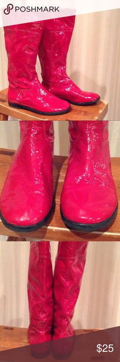 Red patten leather boots. Bright red boots, much deeper than seen in photos.  No major scratches but missing some of the red on the outside of left boot as seen in pic 4 and 5.  Couple of black marks as seen in pic 6 another black mark at back of ankle of left boot.  Leather upper Gianni Bini Shoes