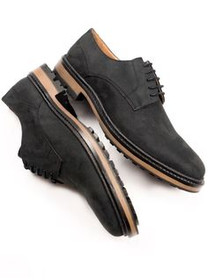 Vegan Men's Continental Derbys in black faux suede by Will's Vegan Shoes