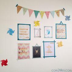 Il suffit de pas grand chose pour décorer son bureau ! J'ai utilisé les éléments de Flow magazine, du masking tape, des rosaces et des moulins en papier !