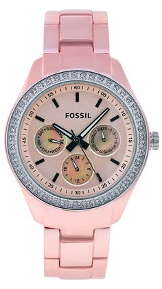 Fossil Ladies' Boyfriend Watch In Pink. I don't even like pink that much and I haven't worn a watch in years, but this is cute! Ring Armband, Boyfriend Watch, Pink Watch, Fossil Watches, Everything Pink, Fashion Room, Quartz Watch, Jewelery, Jewelry Watches