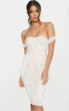 ba2a1e5413 White Lace Binding Detail Bardot Midi Dress Bardot Midi Dress