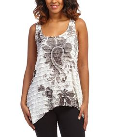Look at this #zulilyfind! Ivory & Black Paisley Ruffle Racerback Tank by Simply Irresistible #zulilyfinds