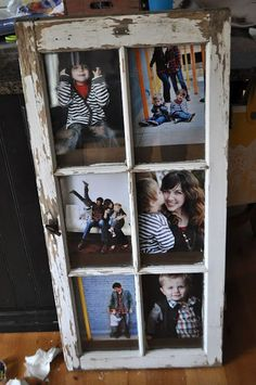 Turn an old window into a picture frame.