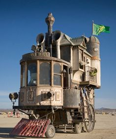 Shannon O'Hare of Vallejo, Calif., took the frame of a fifth-wheel camping trailer and built a three-story Victorian mansion on top.