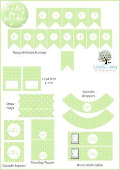 Free Green Polkadot Party Printable Collection