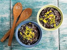 INGREDIENTS - 1 avocado - 1 banana - 2 soup spoons of cocoa - 2 tablespoons honey INSTRUCTION: Pass all the ingredients for dessert until you get a smooth co Acai Bowl, Banana, Diet, Breakfast, Ethnic Recipes, Desserts, Food, Kakao, Kitchens