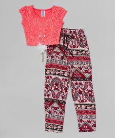 Coral Lace Top Set - Girls