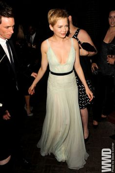 Michelle Williams in a floaty, dreamy mint and black Dior gown