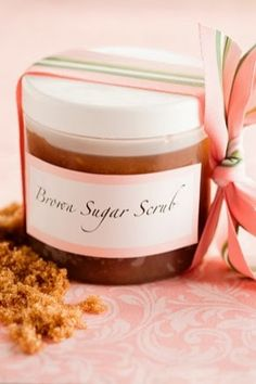 Brown Sugar Body Scrub...not only does this leave your skin glowing, it smells AMAZING. Great homemade gift idea!