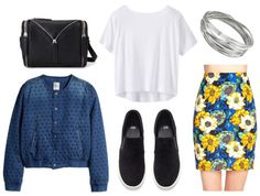 Chic ways to wear spring 2015 fashion trends. I love this outfit! black sneakers + fun pencil skirt + denim jacket