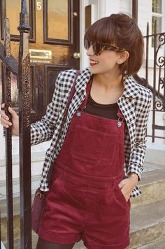 Berry, Burgundy dungarees & Bianchloé slippers by Petite Mendigote in London - Hello it's Valentine
