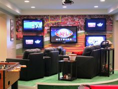 DIY Football Man Cave haha jacob would love this! he has always wanted a man cave Man Cave Garage, Man Cave Basement, Basement House, Football Man Cave, Sports Man Cave, Watch Football, College Football, Home Theater Wiring, Home Theater Design