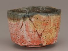 "Tea bowl, copy of ""Kaga Koetsu,"" unknown Raku ware workshop. 19th century. Hon'ami Koetsu , (Japanese, 1558-1637). Edo period or Meiji era. Raku-type earthenware with red slip under clear glaze. H: 8.5 W: 12.4 D: 12.4 cm. Kyoto, Japan."