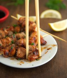 Teriyaki Glazed Chicken Kebabs  ¼ cup / 50 ml organic wheat-free soy sauce  ¼ cup / 55ml white wine  ¼ cup / 60ml water 1 tbsp raw organic honey  1 tspn white vinegar 2 tspns grated fresh ginger 2 cloves garlic, minced bamboo skewers 2lb chicken breasts, cut 1½-inch chunks  Ground black pepper  Directions: In sml saucepan, over med heat, add soy sauce, white wine, water, honey, white vinegar, ginger & garlic. Bring 2 a boil, lower heat let simmer 5 mins. heat & let cool 4 10 minutes.