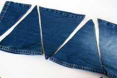 How to: Upcycled Jeans Party Banner 2019 How to make denim bunting out of old jeans. Stephane I have tons of Jeans The post How to: Upcycled Jeans Party Banner 2019 appeared first on Denim Diy. Jean Crafts, Denim Crafts, Upcycled Crafts, Diy Jeans, Sewing Hacks, Sewing Projects, Artisanats Denim, White Denim, Jean Diy