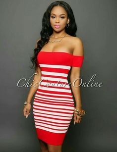 Lorena Red White Stripes Off-The-Shoulder Dress Hot Mom Outfits, Stylish Outfits, Cute Outfits, Fashion Outfits, Fasion, Tight Dresses, Sexy Dresses, Cute Dresses, Dresses For Work