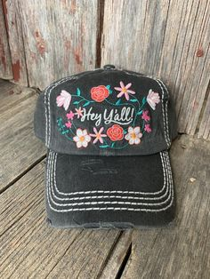 Hey Ya'll Cap - Ropes and Rhinestones Real Country Girls, Country Wear, Country Girls Outfits, Hey Ya, Cow Skull, Caps For Women, Affordable Clothes, Turquoise Earrings, Ropes