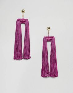 ASOS DESIGN Statement Double Tassel Earrings