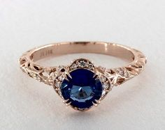 1.41 carat Round Natural Blue Sapphire 14K Rose Gold Vintage Engagement Ring 22746